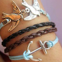 Birds Anchor Handmade Hide Rope Bracelet
