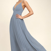 Depths of My Love Dusty Blue Maxi Dress