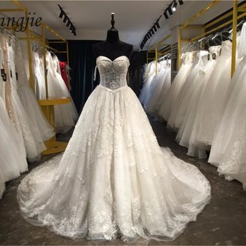 Lace Wedding Dresses 2018 Sweetheart Off the Shoulder Lace-Up Cathedral Train Applique Bridal Gown Dress Vestido De Noiva