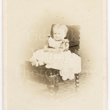 CDV Carte de Visite Photo Victorian Baby Girl on Fringe Chair Portrait by G & R Lavis of Eastbourne England
