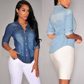 Fashion Elegant Women's Denim Shirts Lapel Long Sleeve Denim Blouse Wear To Work Slim Tops