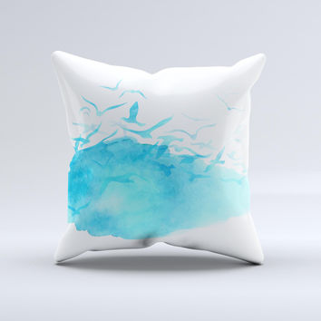 The Abstract Blue Watercolor Seagull Swarm ink-Fuzed Decorative Throw Pillow