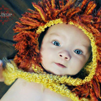 Newborn lion hat photo prop Crochet Lion Hat Animal Hat Newborn, 0-3 mo, 3-6 mo available Baby Leo the Lion Hat Handmade Photo prop Crochet