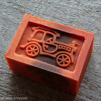 Red soap, cinnamon kids soap with an old car, Old car soap,
