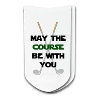 Custom Funny Golf Socks: May The Course Be With You No-Show Socks by Sockprints - Unisex White Socks - Available in 3 Sizes