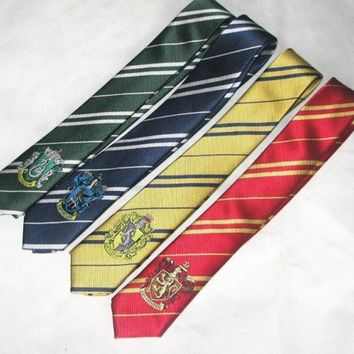 Cool (10 pieces/lot) Gryffindor/Slytherin/Hufflepuff/Ravenclaw Necktie ties with badge         for Harri Potter CosplayAT_93_12