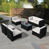 Ohana 7-Piece Outdoor Patio Wicker Furniture Sofa Set with Free Patio Cover, Sunbrella Beige (PN7037)