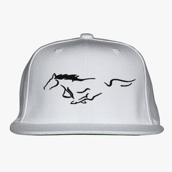 Mustang Horse Embroidered Snapback Hat