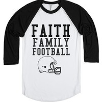 Faith Family Football-Unisex White/Black T-Shirt