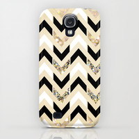 Black, White & Gold Glitter Herringbone Chevron on Nude Cream Galaxy S4 Case by Tangerine-Tane