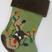 "Reindeer Moose Felt Christmas Stocking ""Moose-Taken Identity"""