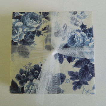 Blue Rose Floral Vintage Tile Coasters by LoopyLoopCreations