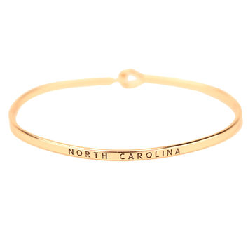 North Carolina Engraved Brass Hook Bracelet in Gold by Country Club Prep
