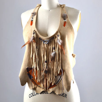 Native American Leather Top - Summer Leather Top - Festival Clothing - Party Tops - Burning Man - Hippie