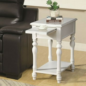 Alina collection ivory finish wood chair side end table with slide out tray