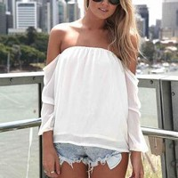 White Chiffon  Top Sleeves Off the Shoulder Shirt