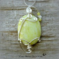 Yellow Lemon Jasper Silver Wire Wrapped Pendant Necklace