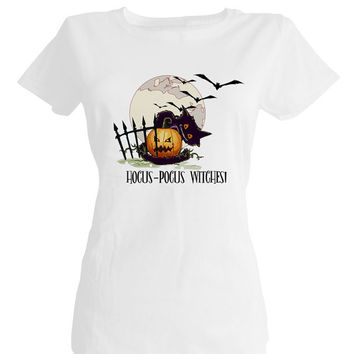 Hocus Pocus Witches Black cat pumpkin,halloween party ideas,girls halloween shirts,halloween tops,kids halloween costumes,halloween t shirts