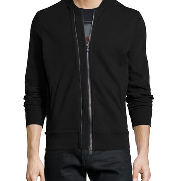 Zip-Through Knit Jacket, Black, Size: