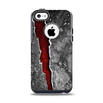 The Cracked Red Core Apple iPhone 5c Otterbox Commuter Case Skin Set