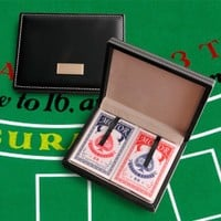 Personalized Leather Playing Card Case