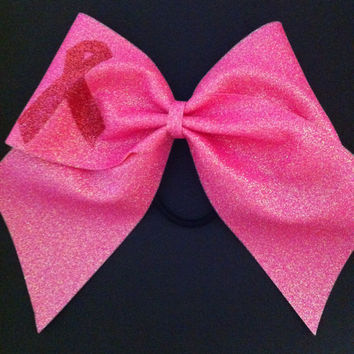 3in. Cheer Bow Pink Glitter with Breast Cancer Support Ribbon