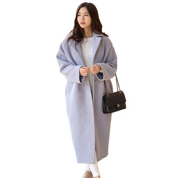 Women Long Wool Coat With Quilting Oversize Trench Winter Design Fashion Cashmere