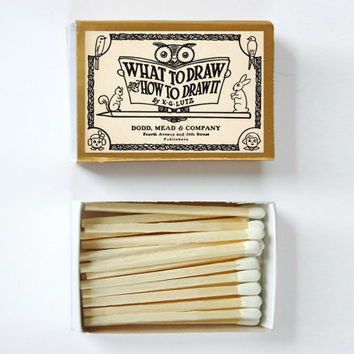What to Draw and How to Draw It - Vintage Book Covered Matchbox - E. G. Lutz - Paper Art - Unique Gift - Light a Literary Spark