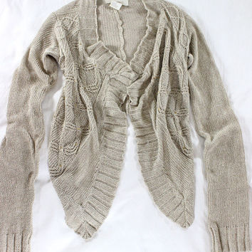 "~~ LUMINOUS LOVE ~~ YA YA GLIMMERY SEQUINED ""HIGH LOW"" OPEN KNIT SWEATER ~ S"
