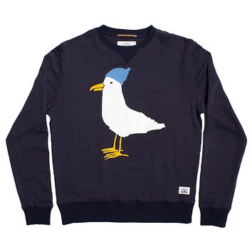 SEAGULL Loop Terry Crew Neck sweatshirt in Indigo