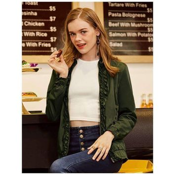 Asymmetrical Neck Pure Color Dark Green Classic Party Bomber Jacket