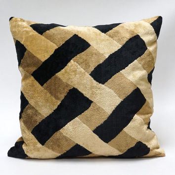 Exclusive Velvet Pillow Cover - handmade from vintage upholstery fabrics, OAK - black, brown, beige