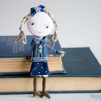 Art Doll Brooch School Girl mixed media collage by miopupazzo