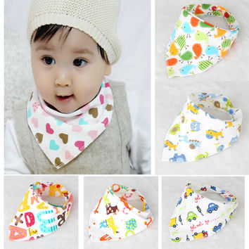 Baby  Cotton  Bibs High quality Triangl Double Layers Cartoon Character Animal Print Baby Bandana Bibs BK005