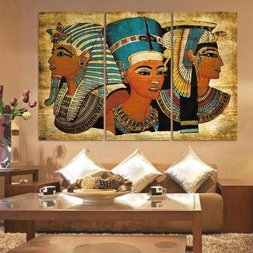 3 Pieces Pharaoh Of Ancient Egypt Wall Art Picture Home Decoration Living Room Canvas Print Wall Picture Printing On Canvas