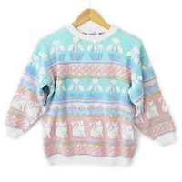 Vintage 80s Sparkle Cats Pastel Tacky Ugly Sweater