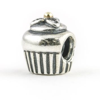 Pandora Retired Cupcake Charm in Sterling Silver with 14k Yellow Gold 790417