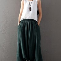 Women's CUPRO Wide Leg Pants Loose Fitting Casual Travelling Pants Green