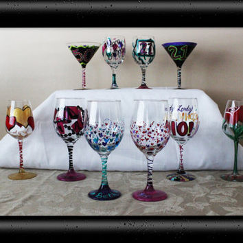 Personalized Wine Glass Custom Glasses Hand Painted