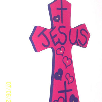 Decorative Wood Cross - Colorful cross - Girls Pink and Purple Wood Christian Wall Cross - Girls Room - Wall Hanging