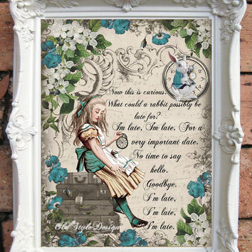 ALICE in Wonderland Quote Art Print. Alice in Wonderland Decoration Shabby Chic Decor Decor Wall Art Alice in Wonderland Print Code:A032