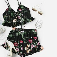 Women Summer Black Botanical Print Lace Up Smocked and Ruffle Shorts Two Piece Set Top and Pants