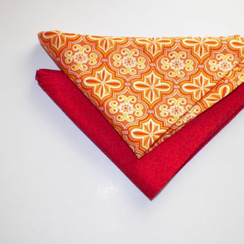 Radiant Color Coral Red and Orange Medallion Head Kerchief Wrap Scarf Two for One