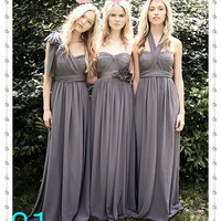 Bridesmaid Dress,Grey Bridesmaid Dress,  Long Bridesmaid Dress,  Halter /One Shoulder Bridesmaid Dress / Grey Prom Dress