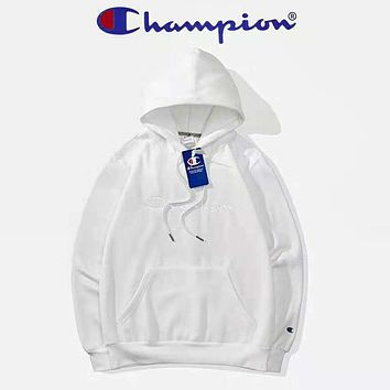 Champion Autumn And Winter New Fashion Bust Embroidery Letter Women Men Keep Warm High Quality Hooded Long Sleeve Sweater Top Dark White