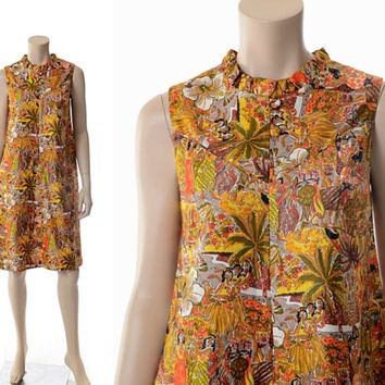 Vintage 70s Hawaiian Luau Scene Dress 1970s Liberty House Hawaii Beach Hula Girls Floral Graphic Print Shift Dress / Small / Medium