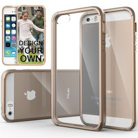 iPhone 5S case, Caseology® [Clear back Bumper] [Beige] DIY Customization Fusion Hybrid Cover [Shock Absorbent] Apple iPhone 5S case