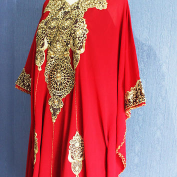 Kaftan Christmas Dress Caftan Bright Red Kaftan Dubai Gold Embroidery Sheer Dress, Wedding Spring Party Batwing Style Caftan Maxi Dress
