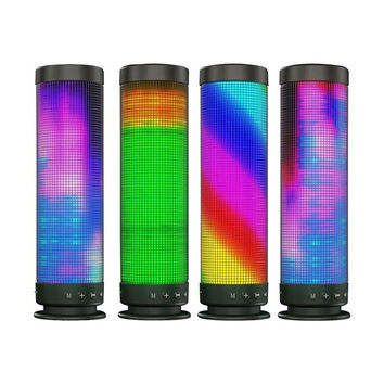Portable Wireless Bluetooth Speaker Colorful 88pcs RGB LED Lights 360-degree Pulsating Music TF Card Outdoor Surround (Color: Black)