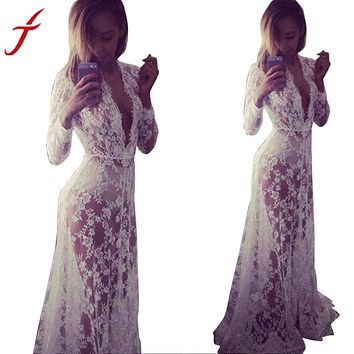 JECKSION Summer Long Beach Dree for Women Deep V-Neck Boho Maxi Lace Dresses 2016 Fashion Party Dress Beach Dresses #LSIW